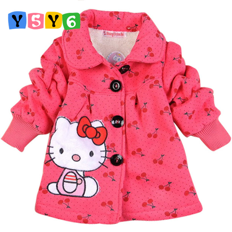 Retail 2018 Fashion Children's coats girls Hello Kitty winter warm coat children cotton jacket thick cotton-padded clothes new 2017 men winter black jacket parka warm coat with hood mens cotton padded jackets coats jaqueta masculina plus size nswt015