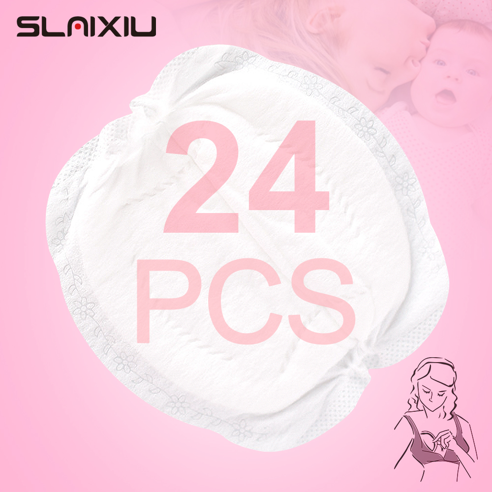 SLAIXIU 24 Pieces Breast Pads Nursing Pads Disposable Breast Pads Breastfeeding Accessories Ultra-thin Dry Soft