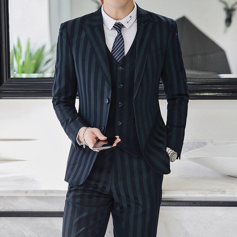 Men's Fashion Slim Stripe Suits Formal Clothing Three-pieces Suit Jacket Pants Trousers Vest Sets S-5XL Hot Sale