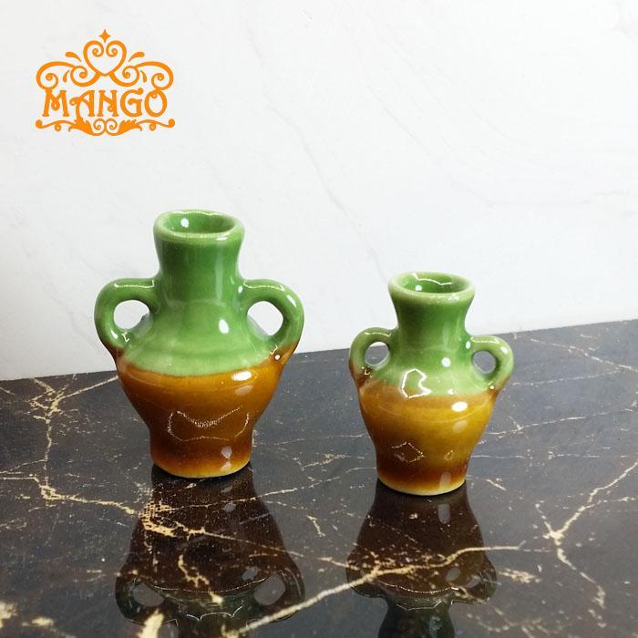 1/12 miniaturë Dollhouse Kinë Porcelani Qeramike vazo Set 2 copë transporti falas