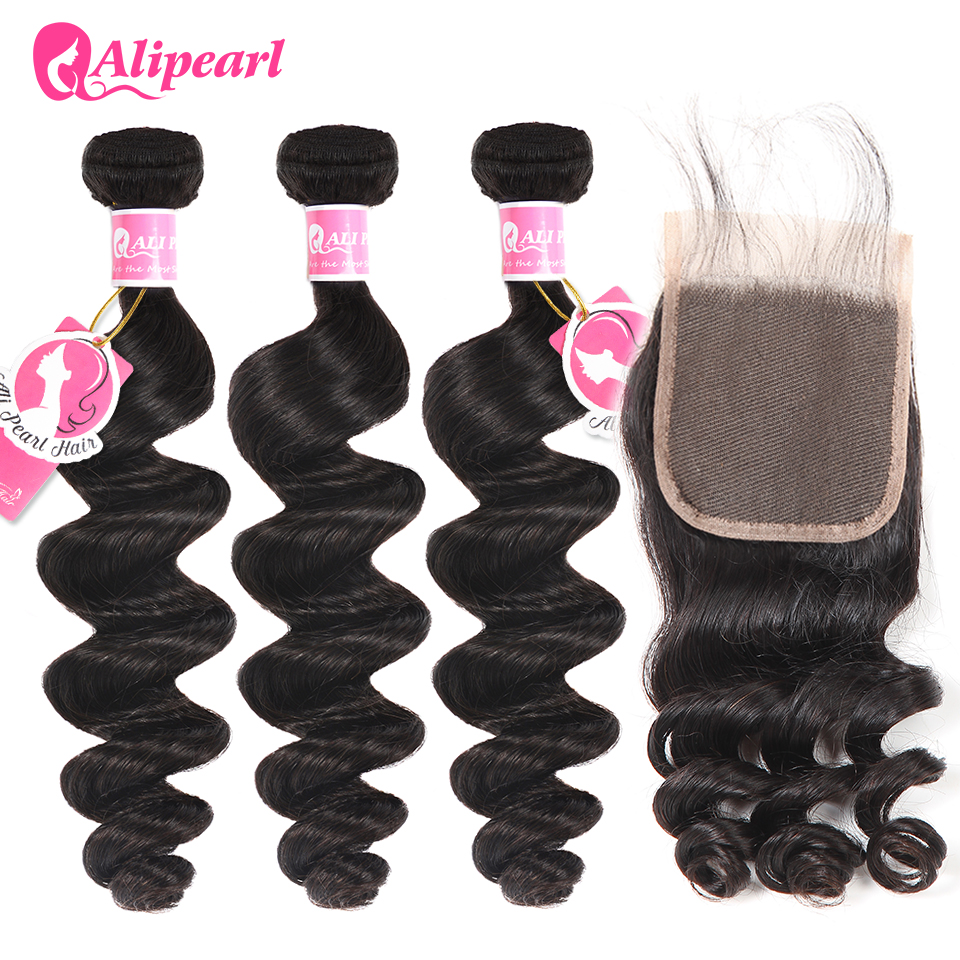 Hair Extensions & Wigs Alipearl Human Hair Loose Wave Bundles With Frontal Pre Plucked Peruvian Hair Weave Bundles 3pcs Natural Color Remy Hair Human Hair Weaves