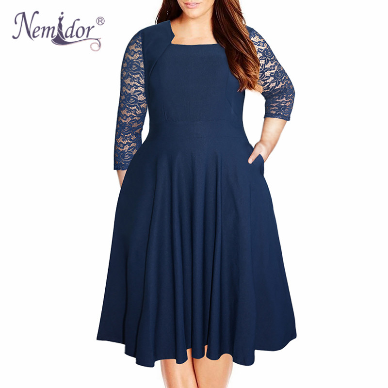 Nemidor Women Vintage Square Collar 3/4 Sleeve Swing Lace Patchwork Dress 7XL 8XL Party Midi Plus Size A line Dress With Pockets