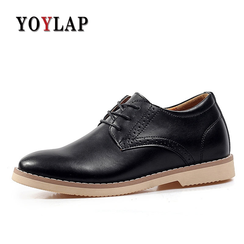 Intérieur A Augmenté de 7 cm 2018 Italien Hommes Chaussures Habillées En Cuir Véritable Hommes Chaussures Habillées Marque De Luxe décontracté Hommes Oxfords