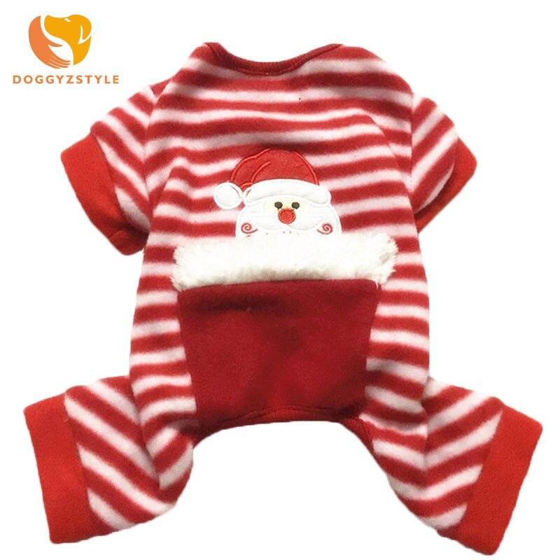 Christmas Pet Cat Dog Pajamas For chihuahhua teddy Costume Stripe Puppy Jumpsuit Coat Jacket Warm Pet Clothing DOGGYZSTYLE