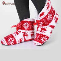Suihyung Hot Women Home Slipper Winter Warm Indoor Shoes Animal Prints Thermal Flock Cotton Shoes Bedroom Floor Plush Slippers