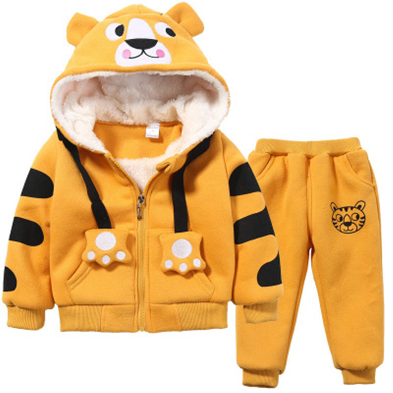 Baby Outfits Clothing tracksuit for boys hooded coat+Pant Children outwear Kids Sets cartoon tigger ear thick Suit