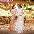 Сексуальная мать невесты платье Большой размер 2016 женщины золотой пояс с длинным вечерние платья матери жениха кружева свадебное ну вечеринку платья