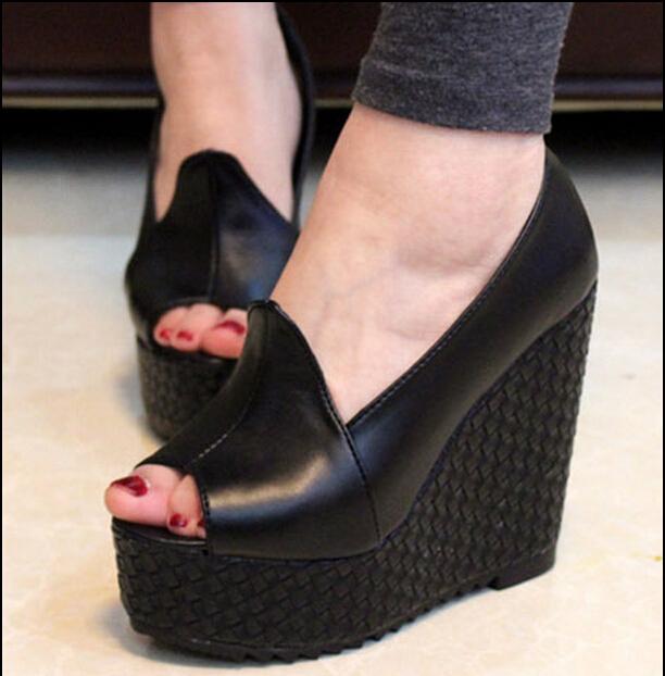 2017 das mulheres 13 cm sapatos de salto alto cunhas plataforma preto bombas dedo do pé redondo 31 32 33 40 1 42 43 sy-1136