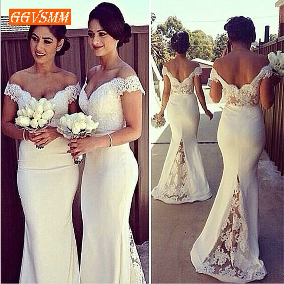 Stylish Mermaid Bridesmaid Dresses Long 2019 Wedding Party Gown Sweetheart Stretch Fabric Lace Appliques Sexy Women Bridal Dress