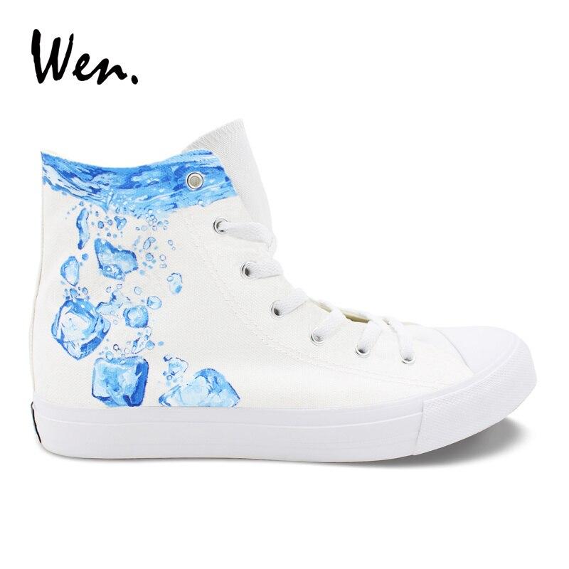 Wen Blanc Chaussures Conception Glace Cube Peint À La Main Chaussures Top Haute Sneakers Hommes Femmes Tennis en Toile Espadrilles Plat Zapatillas