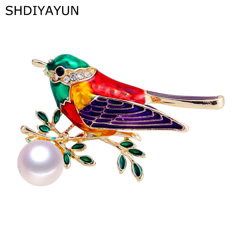 SHDIYAYUN New High Guality Pearl Brooch Enamel Bird Brooch For Women Vintage Brooch Pins Natural Freshwater Pearl Jewelry Gift