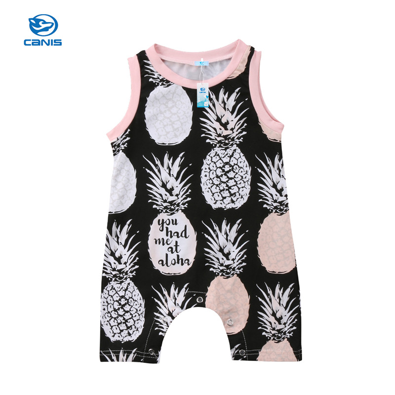 Summer Baby Rompers Newborn Infant Baby Girl Pineapple Sleeveless Romper Jumpsuit Casual Baby Clothes 0-2T