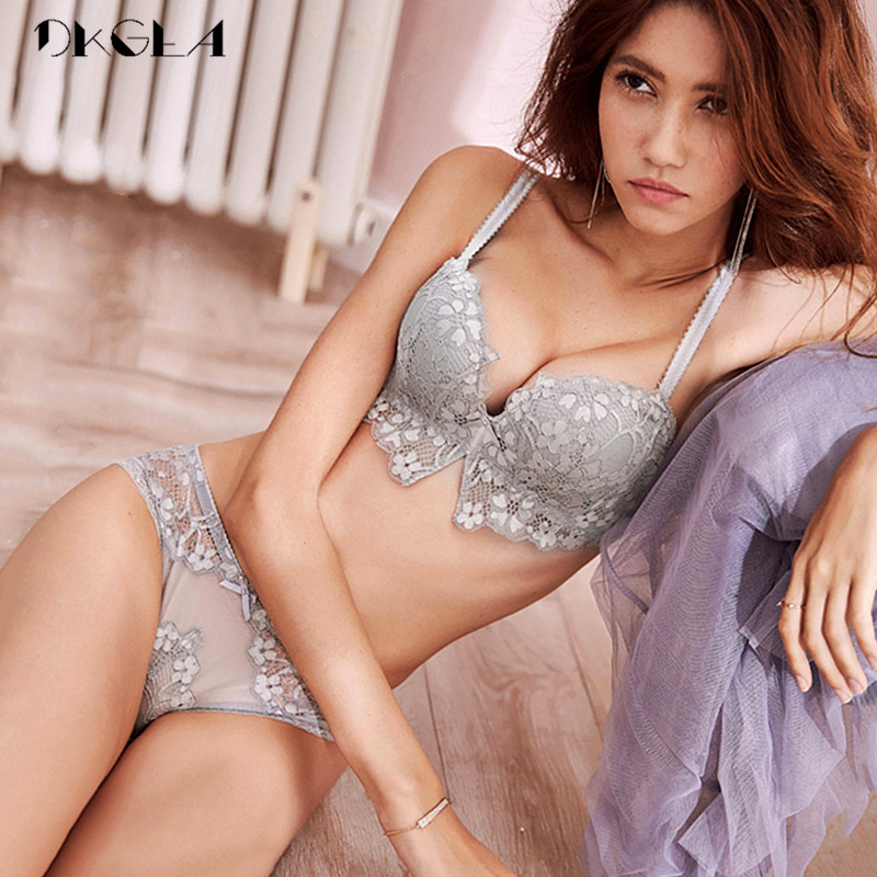 New Gray Brassiere Deep V Sexy   Bra     Set   Push Up Women Underwear   Set   Cotton 1/2 Cup   Bras   Wire Free Lace Lingerie   Set   Embroidery