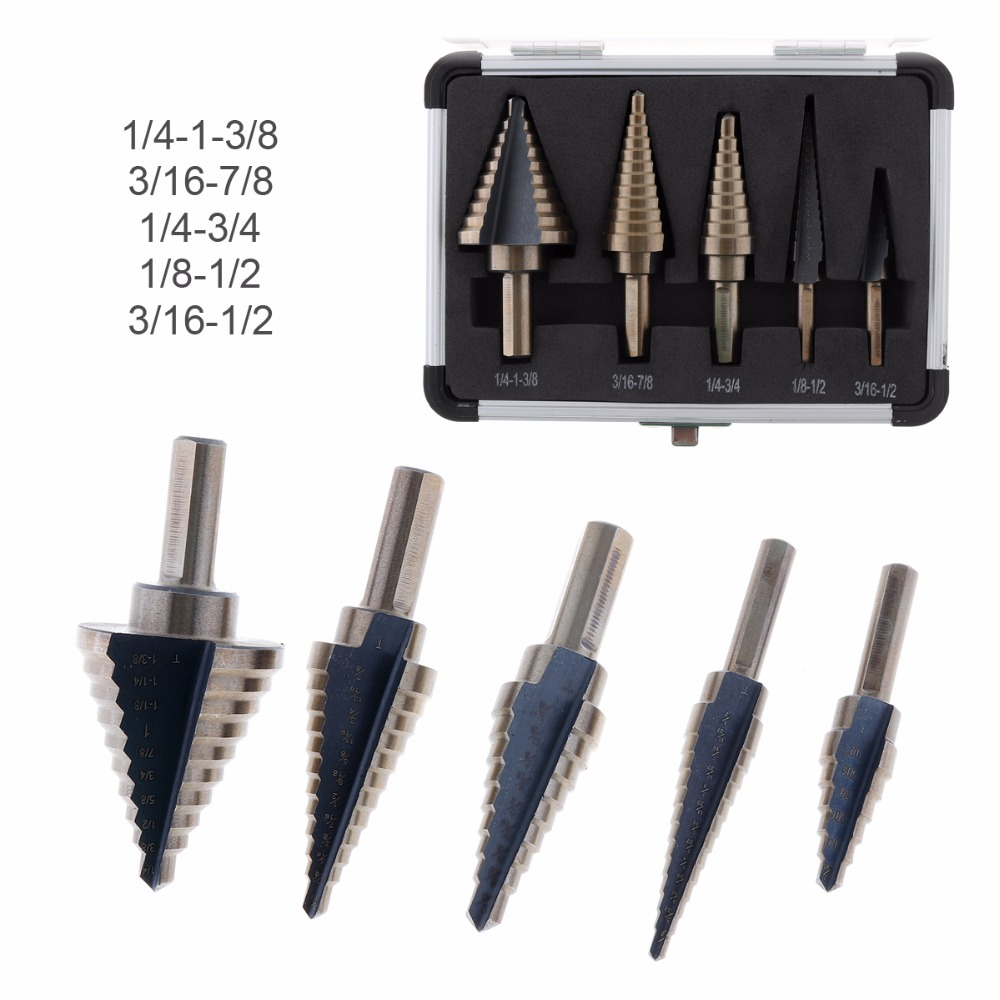 5pcs Step Drill Bit Set Cone HSS Steel Spiral Grooved Drill Bit Multiple Hole of 1/4-1-3/8 3/16-7/8 1/4-3/4 1/8-1/2 3/16-1/2 5pcs step drill bit set hss cobalt multiple hole 50 sizes sae step drills 1 4 1 3 8 3 16 7 8 1 4 3 4 1 8 1 2 3 16 1 2 drill bits