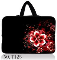 13 Black Red Flower Laptop Sleeve Bag Case Hide Handle For 13 3 Apple Mabook HP