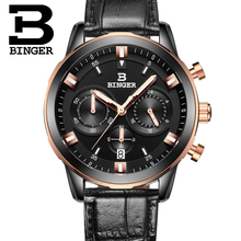 2016 Switzerland luxury watch men BINGER brand quartz full stainless Wristwatches Chronograph Diver glowwatch B9011-8