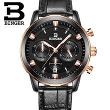 2016 hombres de relojes de lujo BINGER cuarzo de la marca completa de acero inoxidable Relojes de Suiza Cronógrafo Diver glowwatch B9011-8