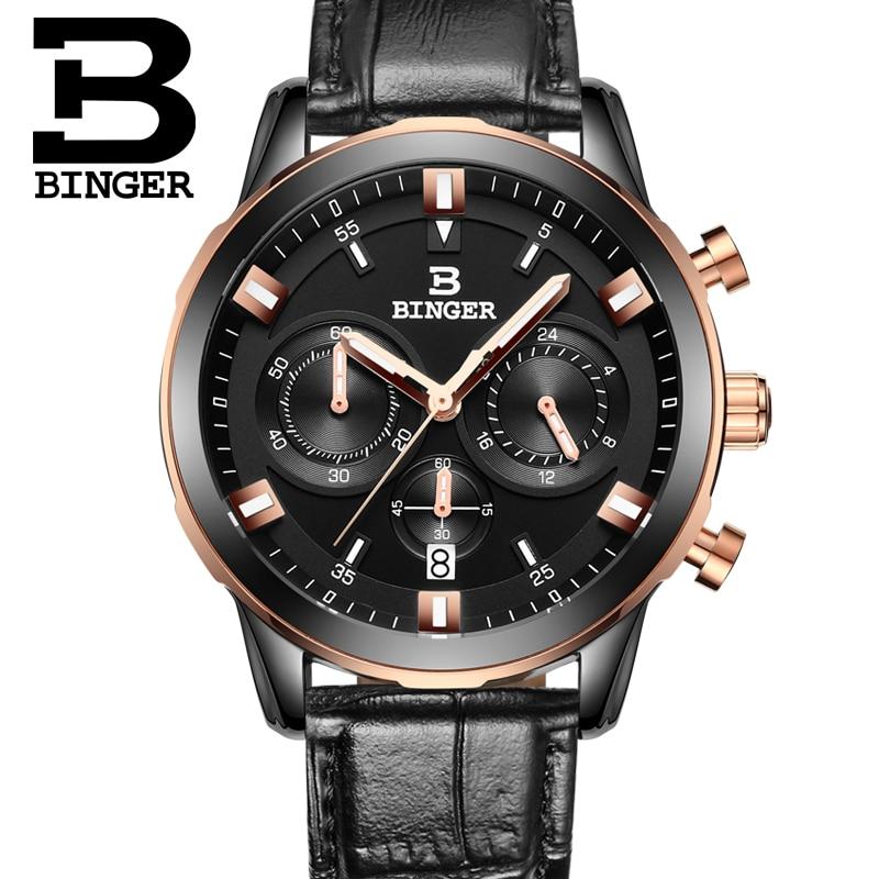 2017 Switzerland luxury men's watch BINGER brand quartz full stainless clock Chronograph Diver glowwatch B9011-8 2017 switzerland luxury relogio masculino binger brand quartz full stainless clock chronograph diver glowwatch b9011 3