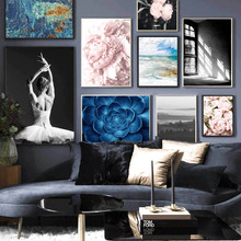 Ballet Girl Peony Rose Flower Sea Window Wall Art Canvas Painting Nordic Posters And Prints Pictures For Living Room Decor