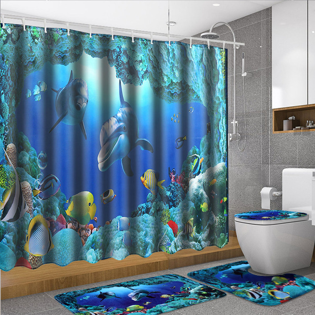 180X180cm Shower Curtain 4pcs Set Bath Mat Ocean Dolphin Deep Sea Bathroom Waterproof With