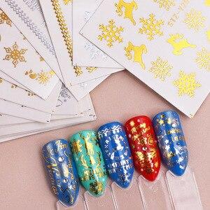 Image 5 - Juego de pegatinas doradas y plateadas para uñas, copos de nieve, diseños navideños, calcomanías para decoración de uñas, deslizantes, TRSTZ YA de manicura, 16 Uds.