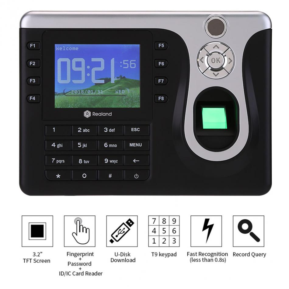 3.2inch touch Screen Fingerprint Time Attendance TFT TCP/IP ID/ IC Card Communication Fingerprint Time Clock Linux System k14 zk biometric fingerprint and rfid card time attendance tcp ip linux system time clock time recorder spanish language support