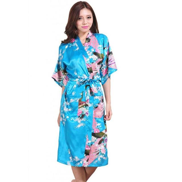 LakeBlue Mulheres Silk Kimono Robe Rayon Vestido de verão Estilo Chinês Roupão de Banho camisola Impressa Pijamas Tamanho S M L XL XXL XXXL Z002