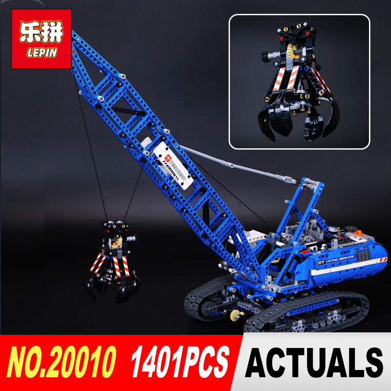 LEPIN 20010 1401Pcs Technic Series Genuine Technic Mechanical Crawler Crane Model Building Blocks Toys 42042 for Christmas gifts ювелирное изделие 20010