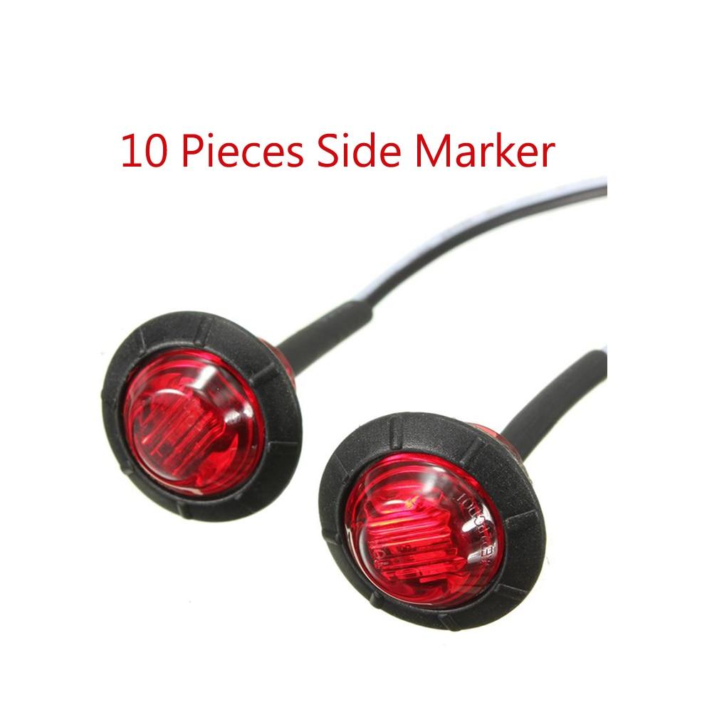10 PCS 3 / 4 inch 3 LED truck side marker light for truck bus red yellow white 12V-24V Waterproof amt9518 10 4 inch