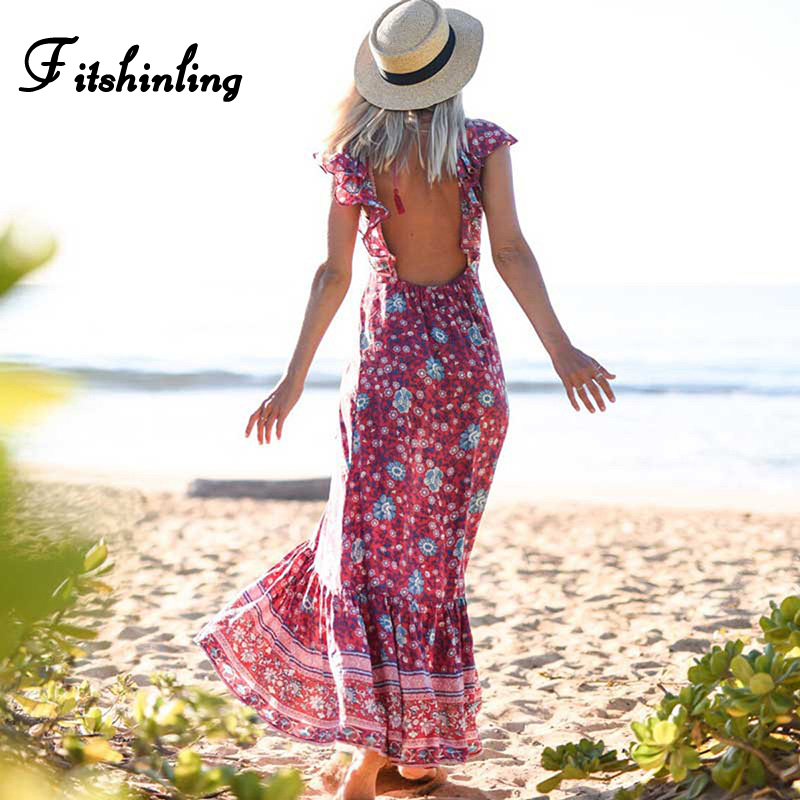 Fitshinling Backless Ruffles Long Dress Beach Holiday Bohemian Print Floral Maxi Dresses Women Summer Slim Sexy Hot Red Pareos