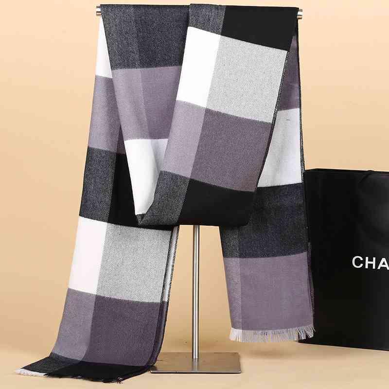 Winter Scarf Men Business font b Tartan b font Cashmere Scarf Street Luxury Brand Foulard Homme