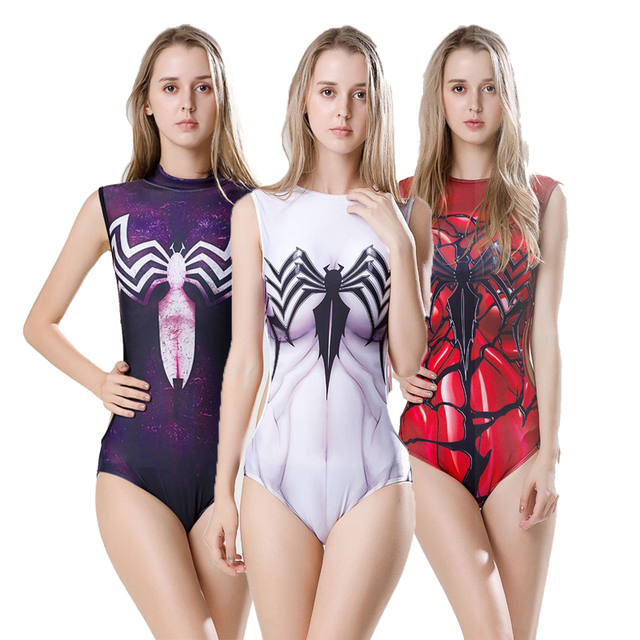 712bb82589 Drop Ship Sexy Women s Swimsuit Bathing Suit Costumes Superman Spider man  Cosplay One-Piece Swimwear Movies SUKUMIZU New Arrival