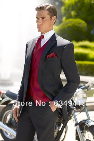 Black Jacket Pant Red Vest Tie Top Sell Custom Italian Mens For Suit