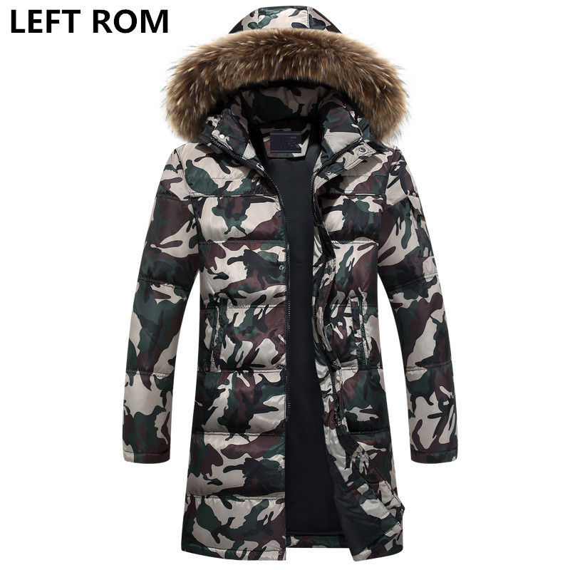 LEFT ROM Fashion men thicken and keep warm in winter Camouflage style Cotton-padded clothes/male long Large size Hooded jacket парафин ray нfgs 60гр