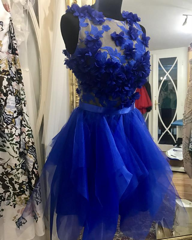 Weddings & Events Pretty Royal Blue 3d Flower Cocktail Dresses Asymmetrical Lace Mini Homecoming Party Dress Button Short Women Gowns Vestidos