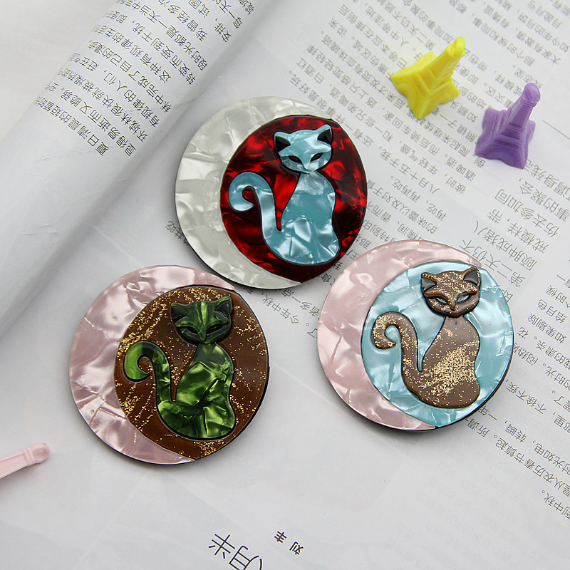 Beautiful Round Cat Acrylic Brooches And Pins For Women Kids Animal Lapel Pin Brooch Badges Hat Clothing Scarf Jewelry Gifts in Brooches from Jewelry Accessories