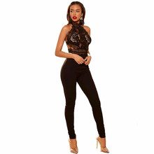 BONJEAN Summer 2019 new nightclub sexy womens perspective lace nude color jumpsuit high elastic long legs woman elegant