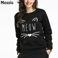 Messic Cartoon Cat Meow Print Hoodies Sweatshirt Women 2018 Autumn Winter Casual Loose Sweat Femme Pullover