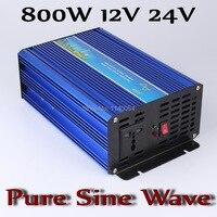 800W Off Grid Inverter DC12V or 24V, Pure Sine Wave Output Inverter with 1600W Surge Power, Solar Wind Power Inverter 800W