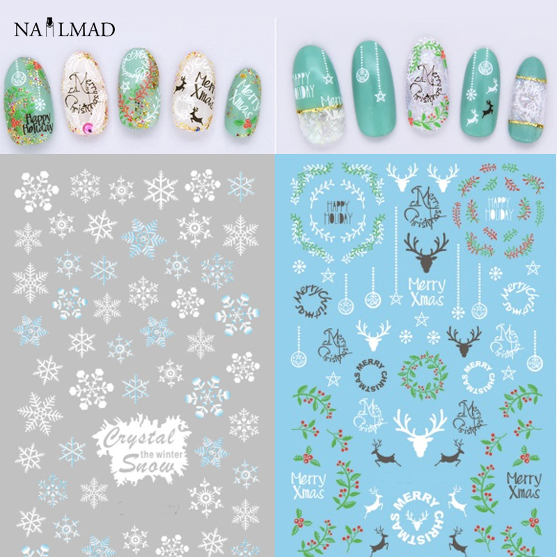 1 sheet NailMAD Snowflake Nail Water Decals Christmas Nail Transfer Stickers Xmas Deer Nail Art Sticker Tattoo Decoration merry christmas deer snowflake window removable wall stickers