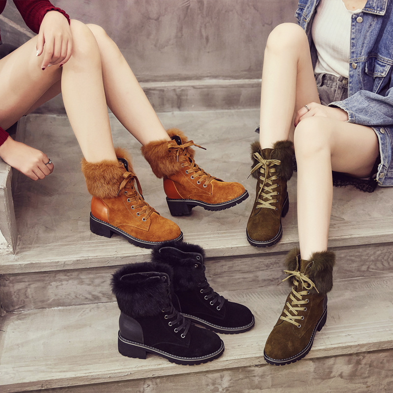 Jookrrix Winter Fashion Women Snow Boots Genuine Leather Lady Shoe Angora Female Warm Furry Ankle Boots British Style Booties