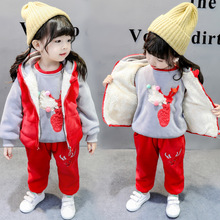 Children Suit 2019 Winter Toddler Girls Clothes 1-2-3 Years Kids with Velvet  Baby Boys Three Pieces Set Thicken