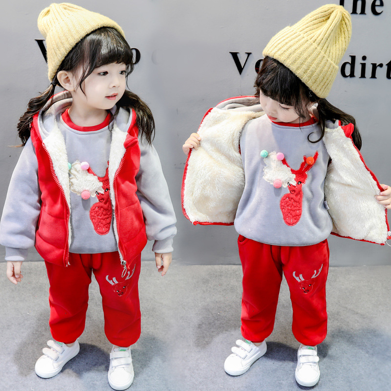 Children Suit 2019 Winter Toddler Girls Clothes 1 2 3 Years Kids Clothes with Velvet Baby Boys Three Pieces Set Thicken