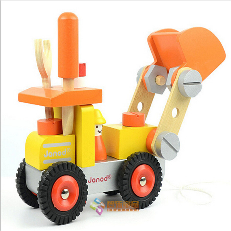 childrens educational toys dismantling tool car wooden dismantling screw factory digging locomotive model buidling kits
