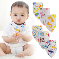 Lekebaby 3 Pieces Lot 100 Cotton Baby Bibs Double Layers Cute Printing Soft Bandana Newborn Triangle