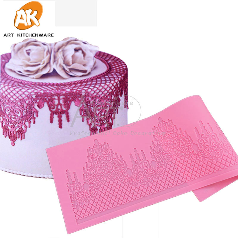 Castle silikon Cake Lace Mat silikon Lace Mold Fondant Cake Decorating Tools Border Decoration Lace Mold Stencil Baking LFM-28
