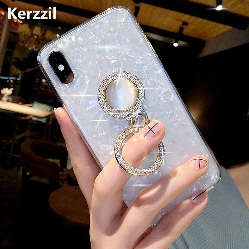 buy popular 9569e f0158 Kerzzil Finger Holder Diamond Phone Case For iPhone 6 8 7 X Cute Kickstand  Cover Soft Cases For iPhone X 6 6S 7 8 Plus XS Max XR