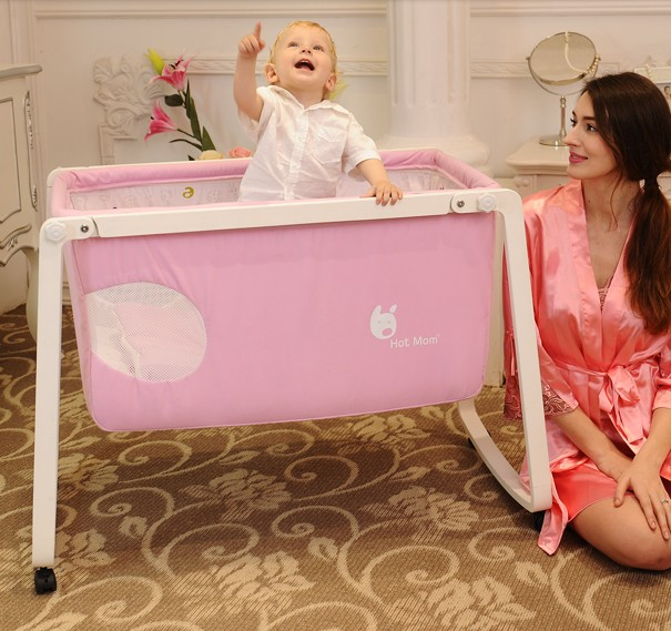 Baby crib wood folding bed The portable travel bb cradle bed roller children bed 1pcs jollybaby brica portable folding travel bassinet baby bed baby crib bed on the go infant bed