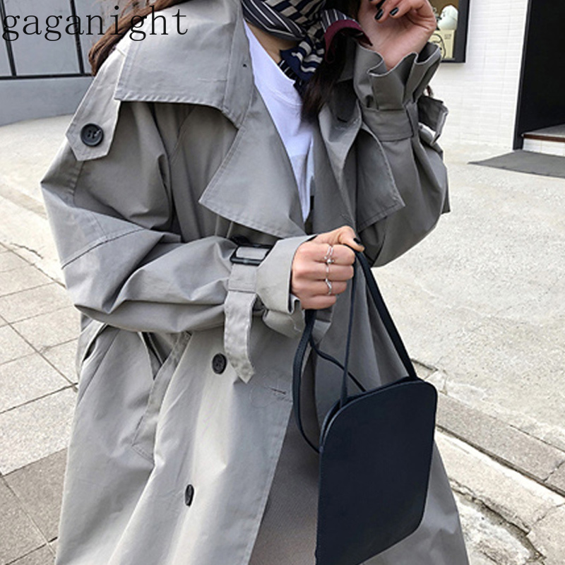 Gaganight Spring Autumn 2019 Korean Fashion Double Breasted Mid-long   Trench   Coat Mujer Loose Belt large size Windbreak Outwear