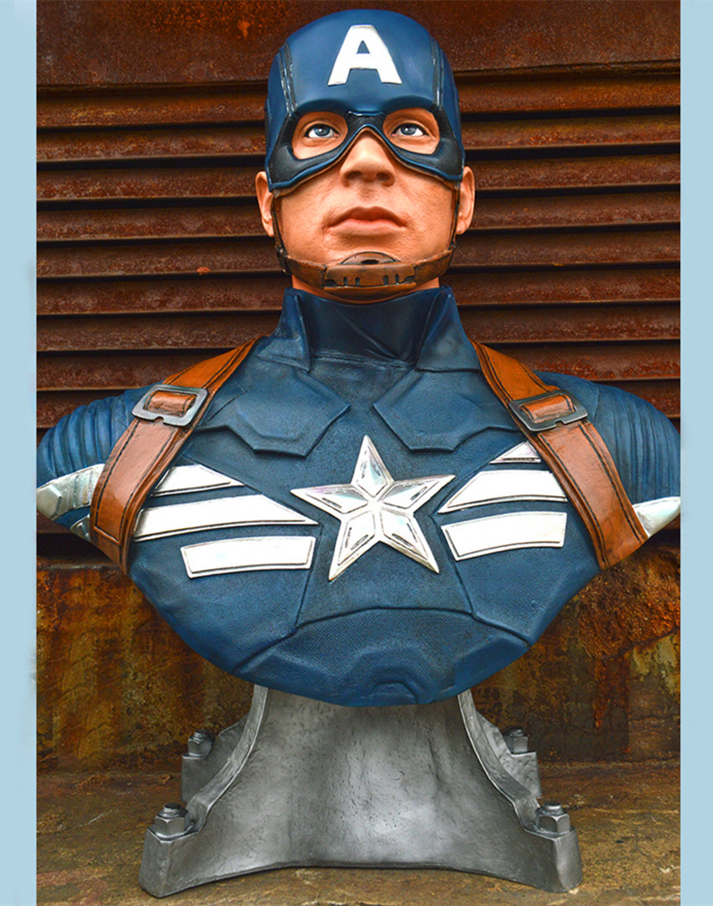 Captain America 3: civil war Bust Captain America 1:1 Statue (LIFE SIZE) Avengers Recast Half-Length Photo Or Portrait Model statue avengers captain america 3 civil war iron man tony stark 1 2 bust mk33 half length photo or portrait with led light w216